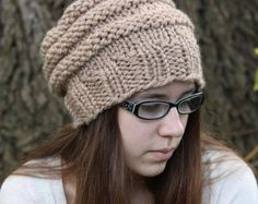 Knitting PATTERN Easy Beginner Knit Slouchy Hat by PoshPatterns