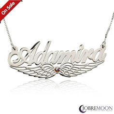 Wing Name Sterling Silver Necklace with Beautiful Stone✨  Get it Now for only 42.45 with FREE shipping worldwide. #jewelry #fashion #necklaces #style #jobremoon #sterlingsilver