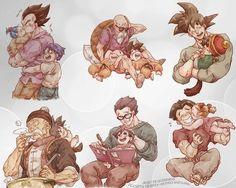 Vegeta, Bula, and Trunks. Master Roshi, Krillin, and Goku. Goku and Gohan. Grandpa Gohan and Baby Goku. Adult Gohan and Pan. Krillin and Marron.