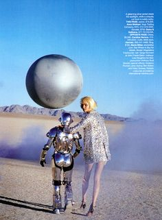 Harpers Bazaar - Metallic Moment - Magdalena Frackowiak - Mar 2007 Peter Lindberg