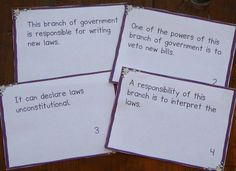 FREE These government task cards can make learning about the branches and levels of government a little more fun for students!