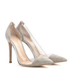 Gianvito Rossi - Suede and transparent pumps - Opt for these Gianvito Rossi pumps as a contemporary final note to an all-black ensemble of tailored separates. We love the contrast of the taupe suede and transparent insert - cool but sophisticated. seen @ www.mytheresa.com