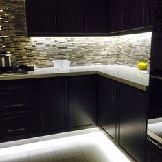 Under cabinet and footwell led strip lighting. Also hidden counter top receptacl. Under cabinet and footwell led strip lighting. Also hidden counter top receptacles Best Under Cabinet Lighting, Under Counter Lighting, Best Kitchen Lighting, Hidden Lighting, Rustic Kitchen Lighting, Strip Lighting, Lighting Ideas, Kitchen Cabinet Design, Kitchen Layout