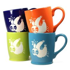 4 Sloth Mugs  Sky Blue Navy Blue Green & Orange by BreadandBadger (Home & Living, Kitchen & Dining, Drink & Barware, Drinkware, Mugs, gifts for boyfriend, art mugs, sloth mugs, sloth mug set, cute sloths, sloths, sleepy sloths, smiling sloths, three toed, gifts for women, gifts for mom, mothers day, mother)