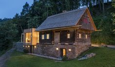 Farmhouse Style Homes Exterior Design Ideas - New Decoration Style At Home, House Built Into Hillside, Chalet Design, Agricultural Buildings, Weekend House, Forest House, Hotel Interiors, House Layouts, Home Fashion