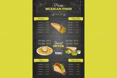 vertical color mexican food menu by Netkoff on @creativemarket