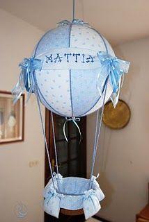 fiocco nascita mongolfiera azzurra, sfera da 40 cm, altezza circa 80 cm.