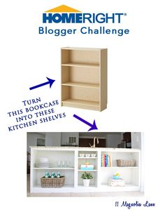 How to DIY an IKEA bookcase into shelves that fit under a counter in a kitchen for great open storage!