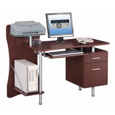 This desk has plenty of room for your computer, printer, hanging files, and much more. With multiple compartments for storage and space to display decorative items, this computer desk will solve all your organizational issues. Home Office Desks, Home Office Furniture, Shelf Furniture, Brown Furniture, Luxury Furniture, Furniture Ideas, Storage Drawers, Storage Shelves, Media Storage