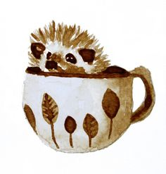'Hedgehog in a Cup Painted with Coffee' by Charlotte Massey
