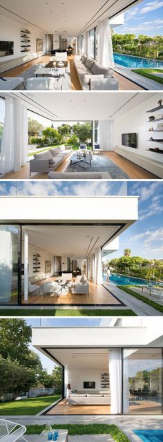 The living area of this modern home shares the space with the kitchen and dining room. In the living room there's a glass corner that can be opened to allow for full access to the garden without any obstructions.