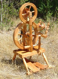 """Carson Cooper """"Quincy"""" spinning wheel a modernized reproduction of an 1830's accelerating wheel. Currently in production."""