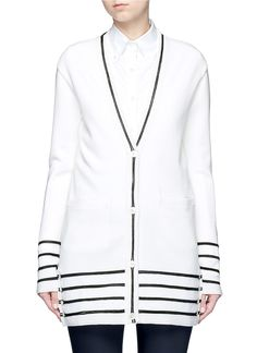THOM BROWNE Ottoman Stripe Wool Cardigan. #thombrowne #cloth #cardigan