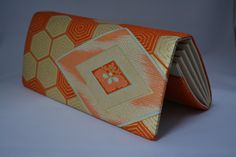 Bridal clutch purse, gold and orange silk brocade, vintage 1960s Japanese purse by StyledinJapan on Etsy