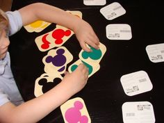 Cheap matching games from Disney paint chips.  Just laminate and go!