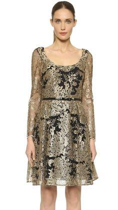 Marchesa Notte Long Sleeve Lace Dress