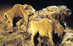Two bison, reliefs in a cave at Le Tuc d'Audoubert, France, ca. 15,000-10,000BCE. Clay, each 2' long