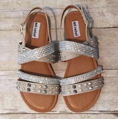 Rhinestone Sandals- Beige - House of Glam