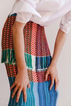 Look 21 White poplin shirt. Multicolour fringe skirt. #Ports1961 #SS16 #S/S