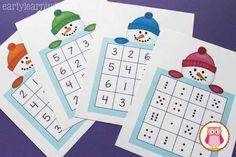 Here is a free printable snowman number game that you can play with your kids. There are 4 different game boards so that you can play at many levels. This is a great winter-themed math game or activity to play with kids in preschool, pre-k and kindergarten.