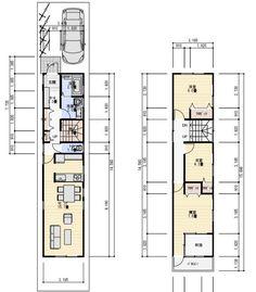 狭小間口 間取り 2階建て Narrow House Designs, Narrow House Plans, Dream House Plans, House Floor Plans, Bungalow Haus Design, Cottage Design, Craftsman Floor Plans, Japanese Home Design, Narrow Living Room