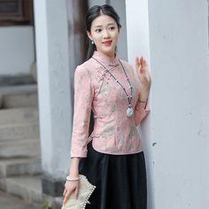 Delightful Pink Lace Qipao Cheongsam Chinese Shirt - Chinese Shirts & Blouses - Women