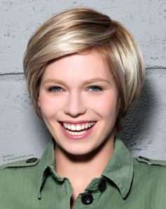 ... Brown Hair Short Hairstyle With Highlights Lowlights And A Long Fringe