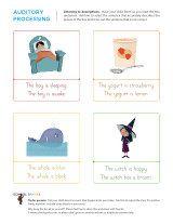 Auditory Processing. Kindergarten worksheets - Listening to descriptions - Beginning 2