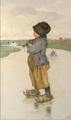 Nicolaas Wilhelm Jungmann The Young Ice Skater watercolour and pencil at 48 x 29 cm / 18 7/8 x 11 7/16 i