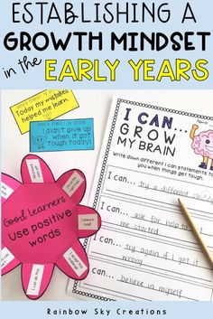 13 Growth mindset tasks which allow students to discover what a growth mindset is, as well as ways of changing their current thinking to apply a more positive learning attitude, which reflects how persistence, hard work and self-belief can lead to success.Growth mindset Lesson ideas for the early years. ( Year 1, Grade 1, Year 2, Grade 2). #rainbowskycreations What Is Growth Mindset, Growth Mindset Book, Growth Mindset For Kids, Growth Mindset Activities, School Resources, Teacher Resources, Teaching Ideas, Get Up And Grow, Teaching Critical Thinking