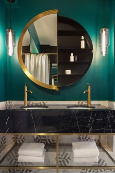 t e a l time Bathrooms with luxe appeal @pinterest #teal #Inspo #marble #marblehexagontiles #brasstap #roundmirror #doublebasin #bathroompendants #blackandwhite #bathroomdesign #luxestyle #luxeinteriors #woodsandwarner #interiordecor #interiordesign #northshoreinteriordesign