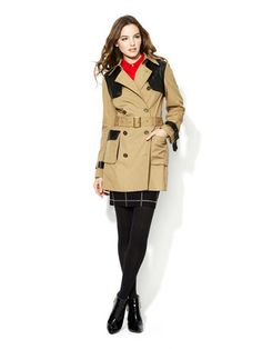 Rebecca Minkoff Smith Leather Combo Trench Coat