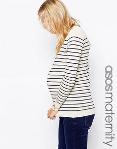 Imagen 1 de Jersey de rayas bretonas exclusivo de ASOS Maternity