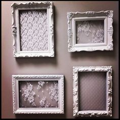 This could be a cool diy for centerpieces, but with black lace. DIY: Repurposed Frames - spray painted white and lace glued into the opening and you have shabby chic wall art or a decorative way to store and display your jewelry - Jess Be Me Shabby Chic Wall Art, Shabby Chic Bedrooms, Shabby Chic Kitchen, Shabby Chic Homes, Shabby Chic Furniture, Shabby Chic Decor, Shabby Chic Picture Frames, Shabby Chic Crafts, Black Shabby Chic