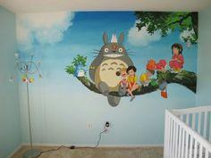 i would still LOVE to get all My Favorite 'Studio-Ghibli' painted on my wall. Studio Ghibli is Just Amazing! Totoro Nursery, Deco Cool, Wall Murals, Wall Art, Bedroom Murals, Studio Ghibli Movies, Daughters Room, My Neighbor Totoro, My New Room