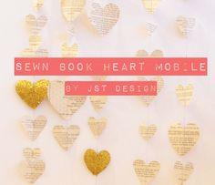 Sewn Book Heart Mobile - JST Design