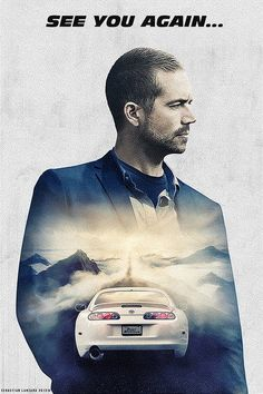 """053 rápido Y Furioso 7-Paul Walker Vin Diesel carrera de película de 14 """"X21"""" Cartel"""