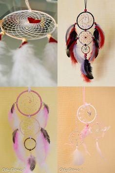 Attrape Rêve Dreamcatcher Fait Main Personnalisable **TAILLE et COULEURS** 3 Cercles 7.5+5.5+3.5 cm : Chambre d'enfant, de bébé par odydonc