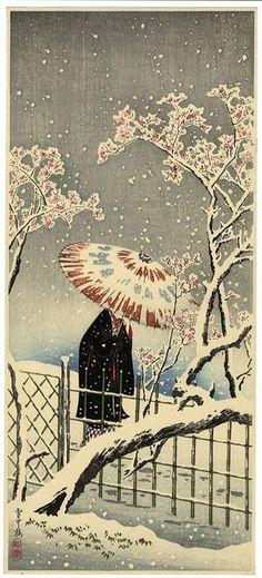 Plum Blossom in Snow Original 1936 Japanese Woodblock Print  Artist: Takahashi Hiroaki