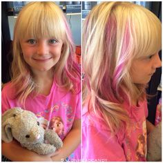 This little cutie is our youngest fan & haircolor client! She wanted a few pink highlights to go with her adorable new haircut & Tina delivered! No worries though- we used all natural, vegan friendly, non-toxic, semi-permanent Arctic Fox color in Virgin Pink! Cutest ever!!  #salonheadcandy