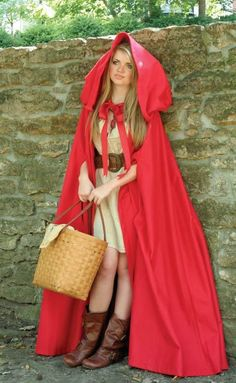"""Little Red Riding Hood"" (long cape from Victorian Trading Co.) - ha ha, this LRRH has a Longaberger basket!!!"