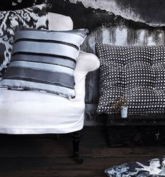 Not just black& white! Upholstery, Textiles, Throw Pillows, Black And White, Bed, Home, Tapestries, Toss Pillows, Cushions