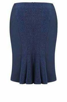 Bonita Falda a la rodilla azul