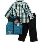 Little Rebels Boys 2-7 3 Piece CheckeVest, Pant And Shirt, Blue, 2T  Blue bikers vest Product Features Plaid shirt Pants with pockets