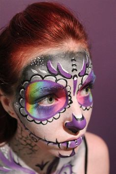 rainbow face paint day of the dead body art 02 by ~Faeriegem on deviantART