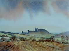 Bamburgh Castle by Malcolm Coils - Watercolour demo for one of the ladies in the Tuesday art group at Chesterlest Northumberland Coast, Watercolor Paintings, Acrylic Paintings, Watercolour, 2d Art, New Artists, Pencil Drawings, Castle, Pictures