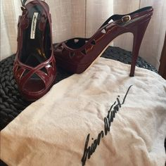 Brian Atwood Peep Toe Heels Authentic Brian Atwood Vernice Chic peep toes. Beautiful wine color leather shoe Worn 3 times. Size 40 (10). Comes with original box and felt bag. Brian Atwood Shoes Heels