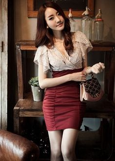 One-Piece Sexy Mini Office / Corporate Dress: Lace Top and Bandage Skirt-Style Bottom - Available in Black, Apricot + Maroon