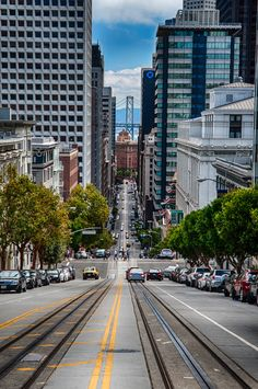 Looking towards the Bay Bridge from Powell Street in San Francisco #USA
