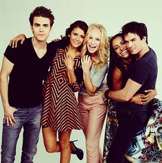 Vampire Diaries Cast. They are all laughing and having fun but not the boys oh no this is be as freaking hot as possible time!
